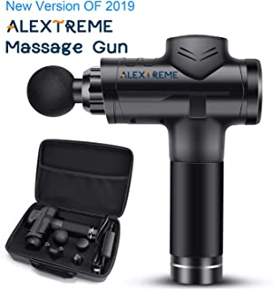 ALEXTREME Massage Gun, 2019 New Muscle Massage Gun, Powerful Cordless Handheld Deep Tissue Muscle Massager, Professional Personal Percussion Massage Gun, with 6 Speeds and 4 Massage Adapters
