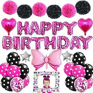 AYUQI Rosa Negro Decoración de cumpleaños para niñas, rosa Banner de feliz cumpleaños con pompones de papel de seda Globo de confeti de látex negro rosa para niñas 1er 2do 3er cumpleaños Baby Shower