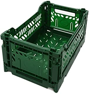 AYKASA Collapsible Storage Bin Container Basket Tote, Folding Basket Crate Container : Storage, Kitchen, Houseware Utility Basket Tote Crate Mini-Box (Dark Green)