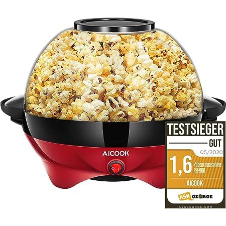 Machine à Popcorn, Électrique Machine à Pop Corn avec Plateau de Cuisson Détachable, Revêtement Antiadhésif, Bol de 5l Couvercle 2-en-1, Rouge, Deux Tasses à Mesurer