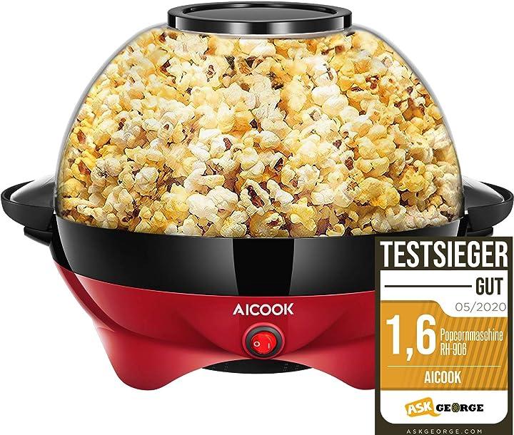 Macchina popcorn 5l macchina per popcorn con rivestimento antiaderente staccabile silenzioso e rapido a+++ B07DG433JZ