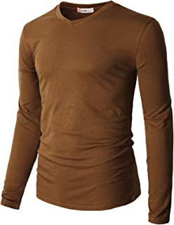 920ccc4b H2H Mens Casual Premium Slim Fit T-Shirts V-Neck Long Sleeve Cotton Blended