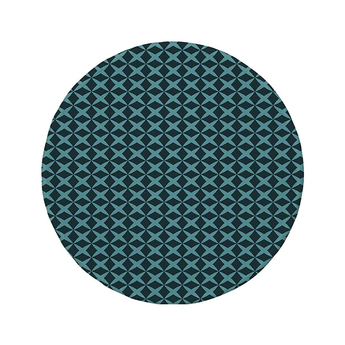 Non-Slip Rubber Round Mouse Pad,Blue,Wire Inspired Floral Like Image Thick Crossed Horizontal Lines Image Decorative,Slate Blue and Light Blue,7.87