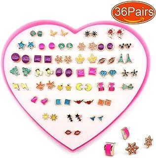 Elesa Miracle Women Girl 36 Pairs Hypoallergenic Stud Earrings Value Set Earrings for Metal Allergy