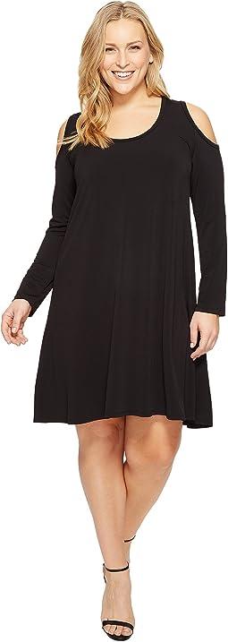 Plus Size Cold Shoulder Trapeze Dress