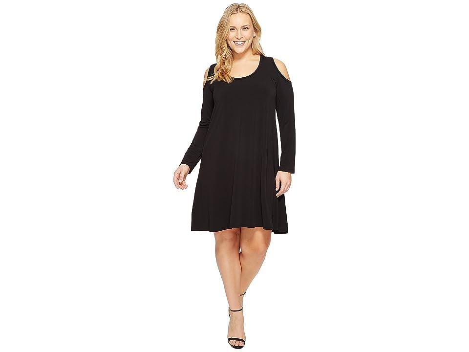 Karen Kane Plus Plus Size Cold Shoulder Trapeze Dress (Black) Women