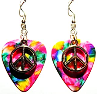 Peace Sign Symbol Charm on Guitar Pick Earrings