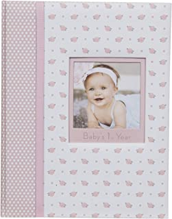 Everly Hart Collection Baby Girl's First Year Milestone Memory Book Journal Photo Albums Pink