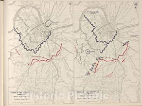Historic 1962 Map - The West Point Atlas of The Civil War - Franklin and Nashville Campaign, Battle of Nashville, Dec. 1864 59in x 44in