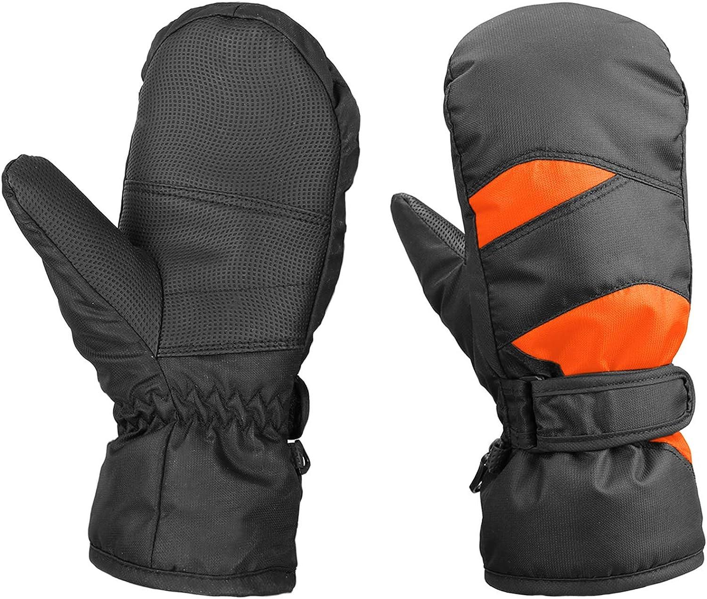 AMYIPO Kids Winter Snow Ski Gloves Children Snowboard Gloves for Boys Girls (Orange & Black (9-11 Years))