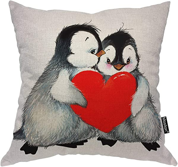 Moslion Penguin Pillows Valentine S Day Love Cute Animal Penguins Holding Red Heart Throw Pillow Cover Decorative Pillow Case Square Cushion Accent Cotton Linen Home 18x18 Inch