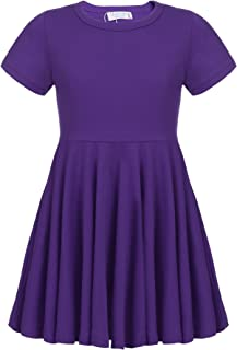 e703b96ad3f Arshiner Girls Dress Short Sleeve A Line Swing Skater Twirly Hem Dress 2-12  Years