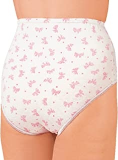 Ladies Womens Pack of 6 Print Cotton Briefs White 28