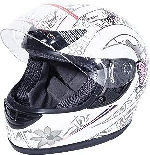 XFMT DOT Adult Flip Up Full Face Motorcycle Helmet Street Dirt Bike ATV Helmet White Pink Butterfly S