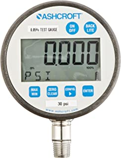 Ashcroft Type 2089 Stainless Steel Case Dry Filled Precision Digital Test Gauge, Stainless Steel Socket and Sensor, 3