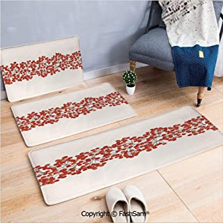 3 Piece Non Slip Flannel Door Mat Border with Wild Red Mountain Ashes on Twigs Hand Painted Natural Artwork Print Decorative Indoor Carpet for bath Kitchen(W15.7xL23.6 by W19.6xL31.5 by W15.7xL39.4)