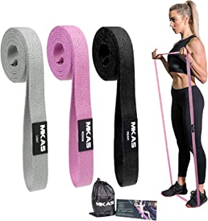 MKAS 3 Pack Long Resistance Bands Set Fabric for Women Elastic Fitness Body Bands Heavy Duty Stretch Exercise Pull Up Mobi...