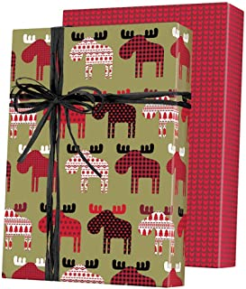 Woodland Plaid Moose Reversible Holiday Gift Wrapping Paper Flat Sheet - 24