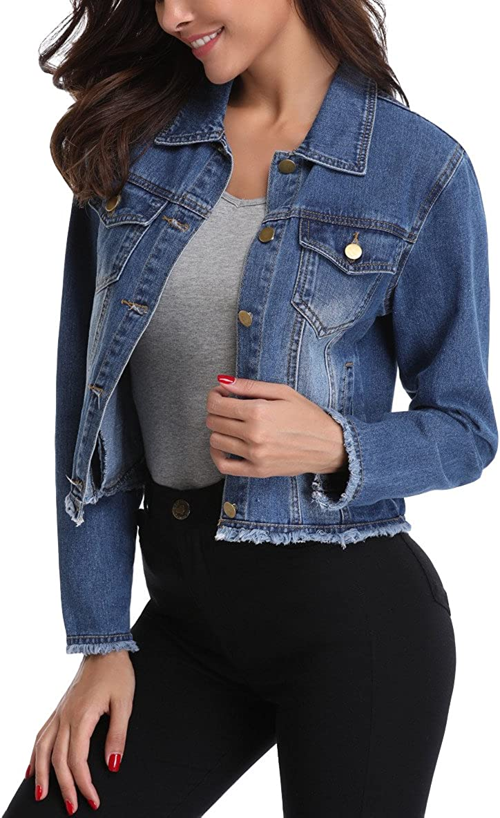 MISS MOLY Jean Jacket Women's Frayed Washed Button Up Cropped Denim Jacket w 2 Side Pockets…