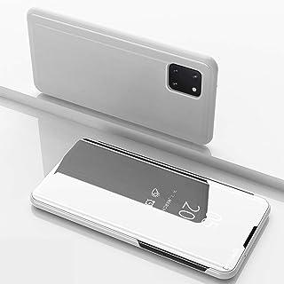 جراب بمرآة قابلة للطي لهاتف Samsung Galaxy Note 10 Lite، تأثير عاكس شفاف لحماية واجهة الكمبيوتر من الأمام شبه شفاف من البو...