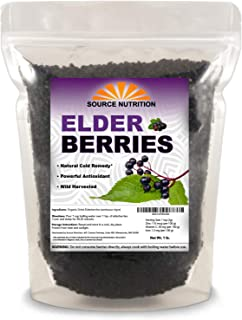 1 lb Natural Dried Elderberries - Responsibly Wild Crafted, Whole European Elderberry, Perfect for Tea, Syrups, and More -...
