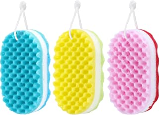 SANNOBEL Body Exfoliating Sponge 3 Pieces Baby Shower Brush Soft Bath Sponge Body Cleaning Sponge For Baby Adults/Kids Men...