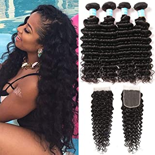 NewYou Brazilian Virgin Deep Wave 4 Bundles with Closure 8A Grade Unprocessed Human Hair with 4×4 Lace Closure Free Part Natural Color (18 20 22 24 with 16)