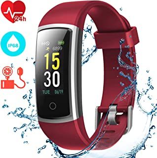 CHEREEKI Pulsera Actividad, Pulsera de Actividad con Monitor Ritmo Cardíaco Medición de la presión Arterial IP68 Podómetro Pulsera Deportiva(14 Actividad Modos)