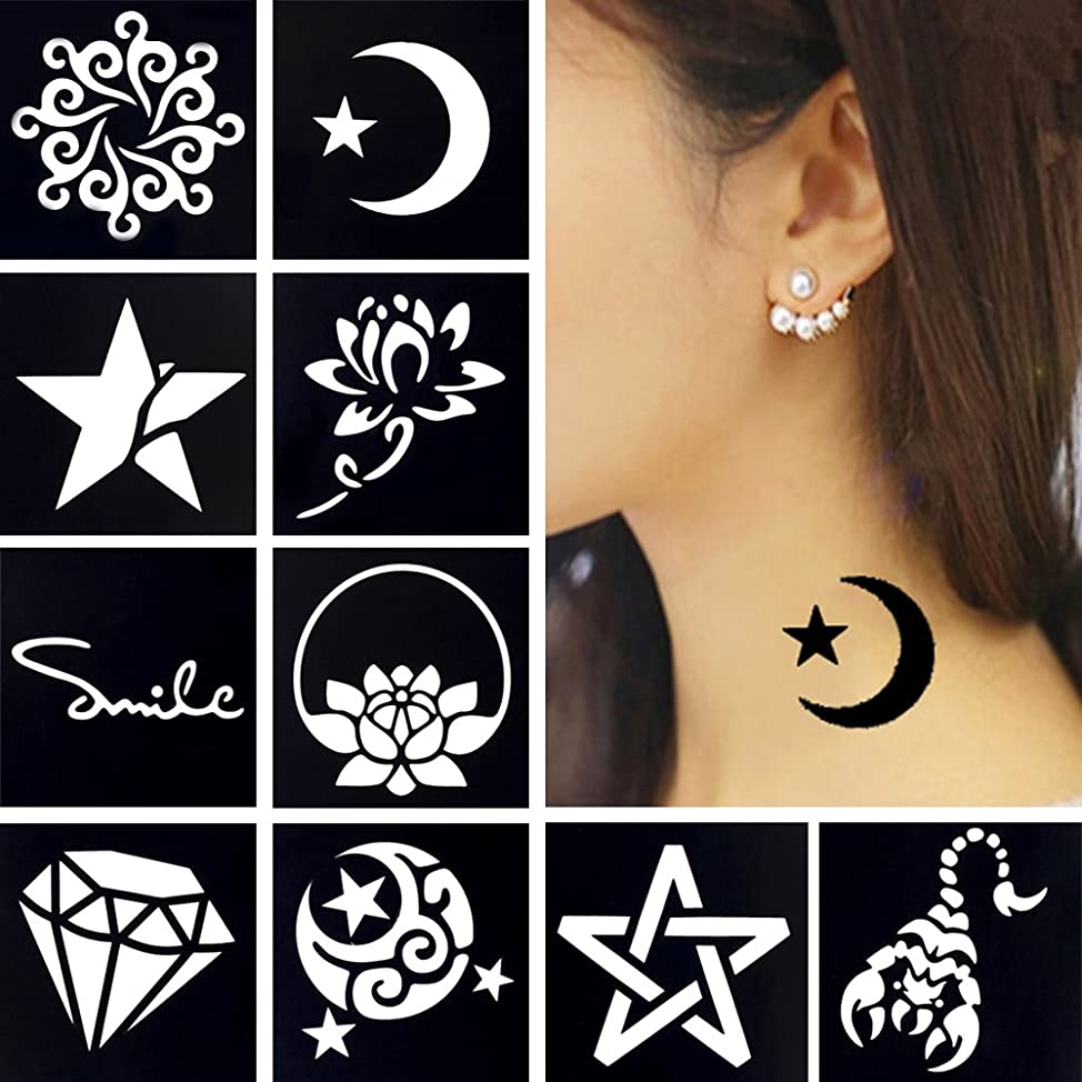 10 Sheets Small Henna Tattoo Stencil Airbrush Painting for Women Wrist Body Art Tool Sticker