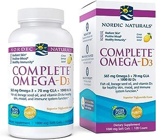 Nordic Naturals Complete Omega-D3, Lemon Flavor - 565 mg Omega-3 + 70 mg GLA + 1000 IU Vitamin D3-120 Soft Gels - EPA & DH...