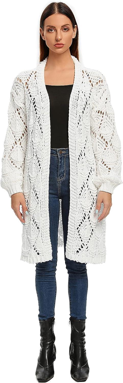 ISOMEI Women's Oversized Crochet Cardigans Hollow Out Batwing Long Sleeve Sweaters Soft Knit Outerwear