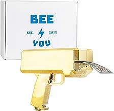 Bee You -(Premium Chrome Gold Money Gun Paper Playing Spray Money Gun Make it Rain Toy Gun, Handheld Cash Gun Fake Bill Dispenser Money Shooter with 100 Pcs Play Money
