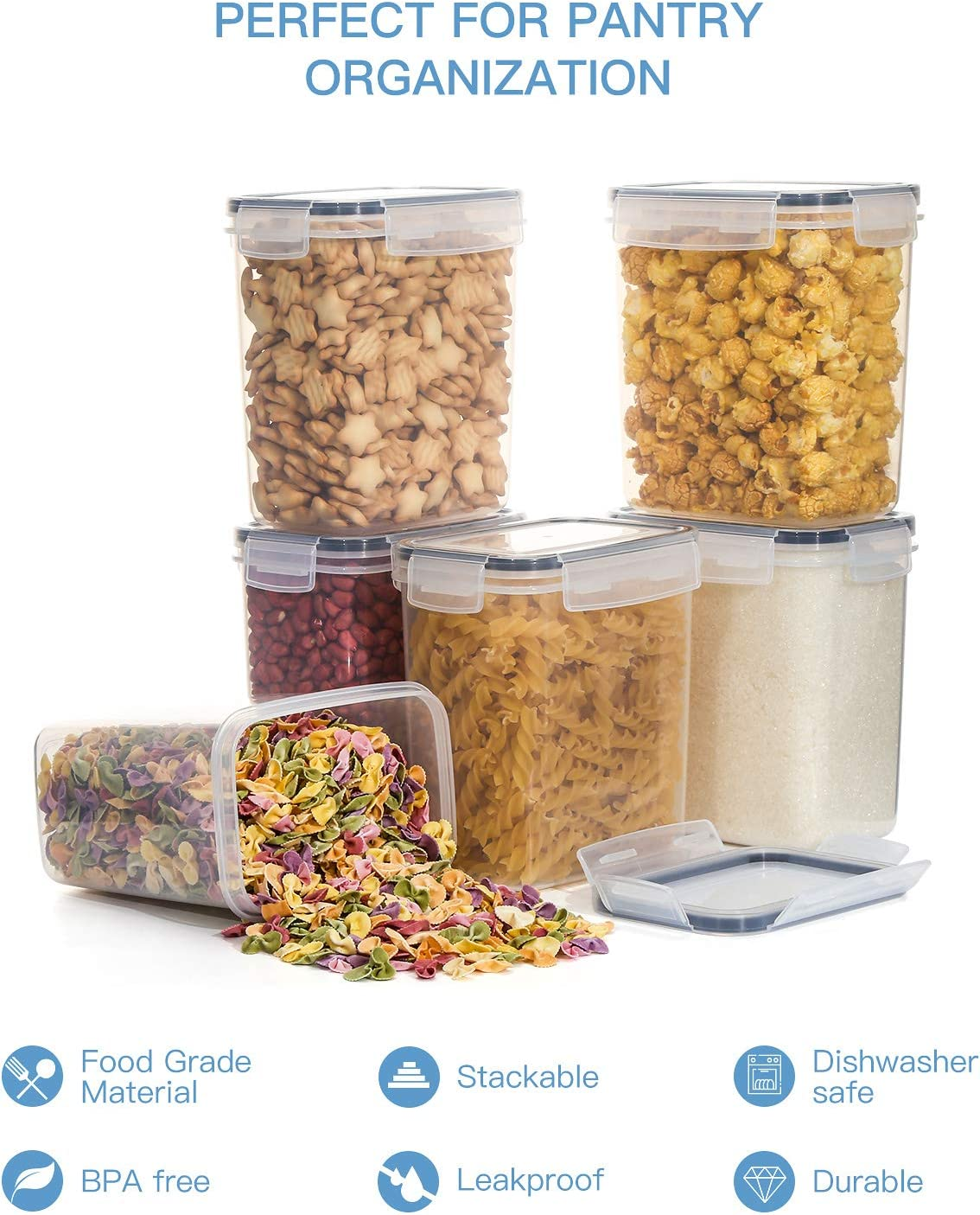 para harina,caf/é 12 Etiquetas +Pluma Acuarela etc Aitsite 1.6L Tarro de Almacenamiento Plasico Recipientes para Cereales Jarras de Almacenamiento con Tapa Herm/ética Sin BPA Juego de 6