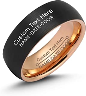 LerchPhi Mens 8mm Black Tungsten Carbide Ring Brushed Outside High Polished Rose Gold Inside Comfort Fit Free Personalized Engrave Supported