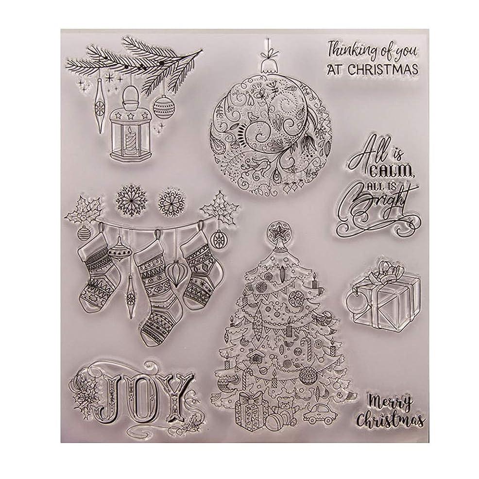 飲料インド海軍Baoyouls クリスマスギフト、クリアスタンプ、透明クリエイティブバッジ画像ラバースタンプシールDIYアルバムクラフトスクラップブックデコレーション、カレンダー