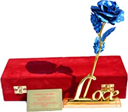 Lavanaya Silver - 24k Golden Blue Rose and Golden Love Stand with Velvet Gift Box Packing (30X10X8 cm, Blue)
