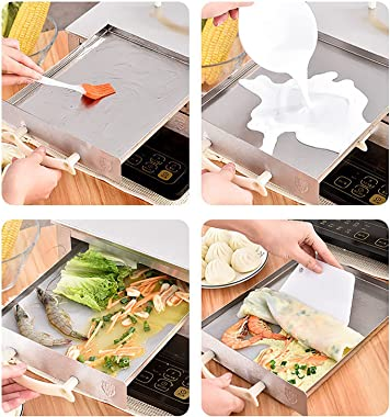 Cantonese Rice Noodle Rolls Steamer, Stainless Steel Steamed Heat-Proof Vermicelli Rice Roll Machine, Household Kitchen Squar