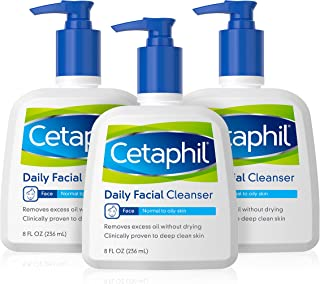 Face Wash by Cetaphil, Daily Facial Cleanser for Combination to Oily Sensitive Skin, 8 oz Pack of 3, Gentle Foaming Deep C...