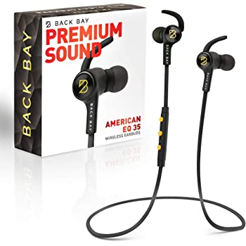 Back Bay American EQ-35 Bluetooth Earphones. Sweatproof Wireless Earbuds [2020 Update] with APTX Hi-Fi Stereo Sound, 8-Hour Battery, Microphone, Magnet, in-Ear Headhones and Carrying Bag