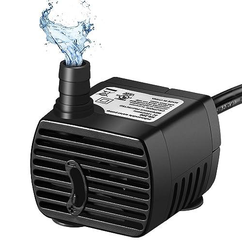 OMORC 200L/H Pompe à Eau Aquarium Pompe Submersible Pompe à Eau Potable pour Animaux Domestiques Pompe Hydroponique pour Fontaine Réservoir de Poissons Mini Taille Long Cordon de 187 cm Noir