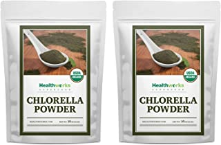 Healthworks Chlorella Powder Organic (32 Ounces / 2 Pound) (2 x 1 Pound Bags)   Broken Cell Wall & All-Natural   Protein, Vitamin C & E   Great with Smoothies & Baked Goods