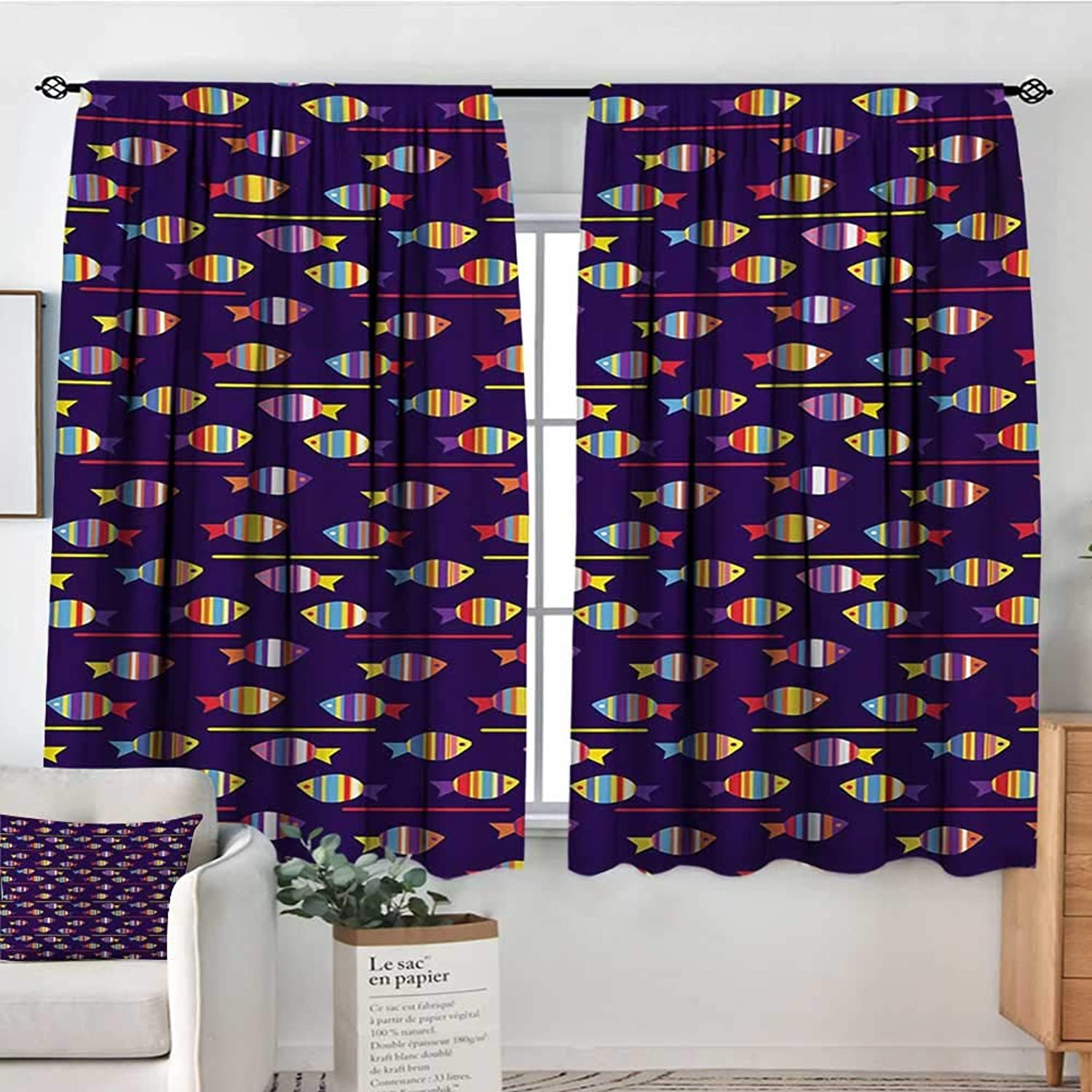Fish Patterned Drape for Glass Door Rainbow Patterned Aquatic Creatures Silhouettes and Stripes Marine Fauna Aquarium Waterproof Window Curtain 55  W x 45  L Multicolor