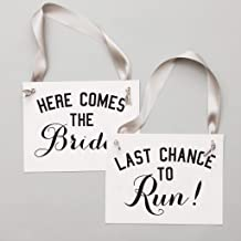 Funny Wedding Signs Set of 2 Ring Bearer + Flower Girl Signs Here Comes The Bride + Last Chance To Run | Black Ink + Gray Ribbon on White Paper