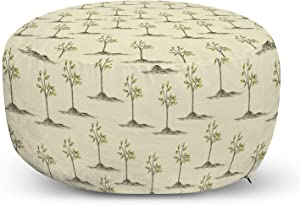 Ambesonne Nature Ottoman Pouf, Springtime Garden Themed Pattern with Sketchy Trees Forest Print, Decorative Soft Foot Rest with Removable Cover Living Room and Bedroom, Pale Khaki Avocado Green