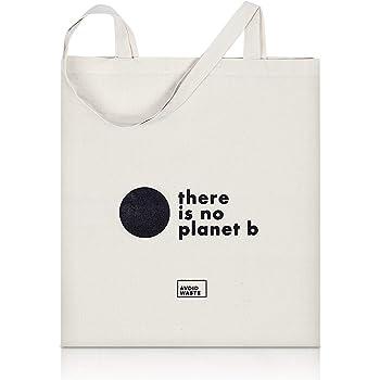 Avoidwaste Jutebeutel Bedruckt - Nachhaltige Einkaufstasche mit Aufdruck und Langen Griffen (no Planet b)