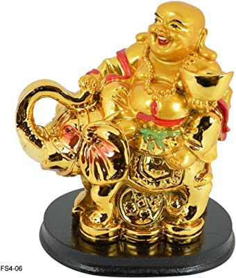 Reiki Crystal Products Vastu/Feng Shui Laughing Buddha Holding Ingot Sitting on Elephant and Coins for Wealth and Success,