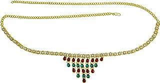 Memoir Gold Plated Brass, Grape Design, Multi Colour Stone Studded Stylish Waistbelt, kamarpatta, Traditional kamarbandh W...