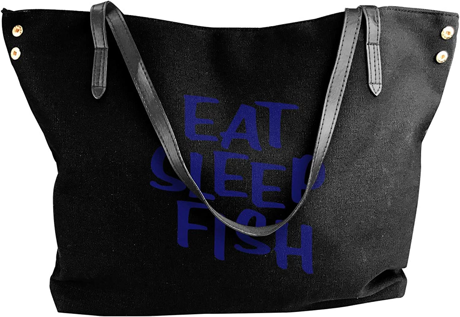 Eat.Sleep.Fish Women'S Recreation Canvas Shoulder Bag For Shopping Shoulder Tote