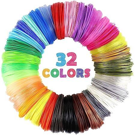 MIKA3D 32 Colors 3D Pen PLA Filament Refills, Each Color 10 Feet, Total 320 feet, Pack with 4 Finger Caps