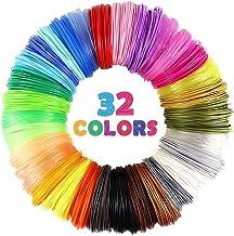 32 Colour 3D Refills Filter Filament Filter ، هر رنگ 10 پا ، مجموع 320 فوت ، بسته بندی شده با 4 درب انگشت توسط Mika3D